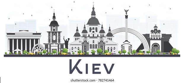 Kiev Ukraine City Skyline with Gray Buildings Isolated on White Background. Vector Illustration. Business Travel and Tourism Concept. Kiev Cityscape with Landmarks.