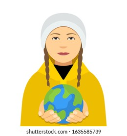 Kiev, Ukraine February 4, 2020: Greta Thunberg in a yellow cloak holds the planet Earth in her hands. Environmental activist against global warming. Single picket. vector illustration
