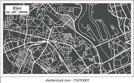 Kiev Ukraine Map in Retro Style. Vector Illustration. Outline Map.