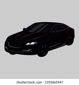 Kiev, Ukraine; March 29, 2019. Jaguar car vector icon on a grey background. Black auto illustration isolated on grey. Sport automobile realistic style design, designed for web and app. Eps 10