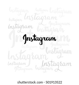 Kiev, Ukraine- October 20, 2016: Instagram inspired hand drawn brush lettering, black and grey silhouettes. Online mobile photo-sharing, video-sharing service.