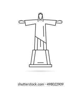 Kiev, Ukraine - September 15, 2016: Simple thin line vector Statue of Christ the Redeemer logo. Outline design for popular monumental great statue in Rio