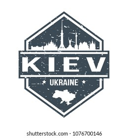 Kiev Ukraine Travel Stamp Icon Skyline City Design