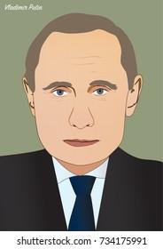 Kiev/Ukraine - October 14, 2017: Vector portrait of Vladimir Putin, President of the Russian Federation