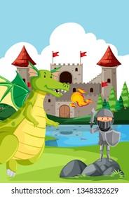Kight fighting a dragon illustration