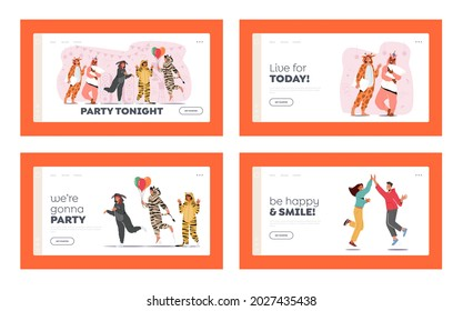 Kigurumi Pajama Party Landing Page Template Set. Young People in Animal Costumes Unicorn, Donkey, Zebra, Giraffe, Tiger with Balloons and Pillows Fun or Dance with Friends. Cartoon Vector Illustration