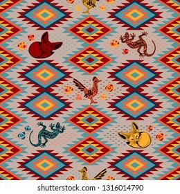 Kilim. Ethnic geometric ornament with desert animals. Pattern of bright rhombuses. Greater roadrunner, Fennec fox, lizard. Seamless vector pattern