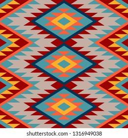 Kilim. Ethnic geometric ornament. Pattern of bright rhombuses. Seamless vector pattern