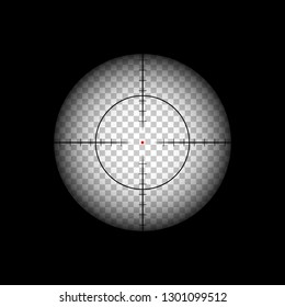 Killer aiming with sniper rifle crosshairs with red dot illustration.