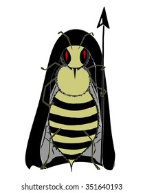 Killer bee monster. An angry killer bee in black hood and with sting. Soldier bee. Bee with pike. Killer bee monster. African honey bee. Danger icon.