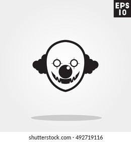 Killer clown monster face halloween icon in trendy flat style isolated on grey background. Id card symbol for your design, logo, UI. Vector illustration, EPS10.