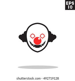 Killer clown monster face halloween icon in trendy flat style isolated on grey background. Id card symbol for your design, logo, UI. Vector illustration, EPS10. Colored.
