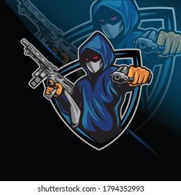 Killer Gun mascot Logo Design Esports