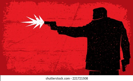 Killer: Illustration of man shooting with pistol. No transparency and gradients used.