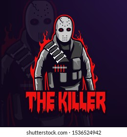 The Killer mascot logo isolated, esport logo for team, vector esp10