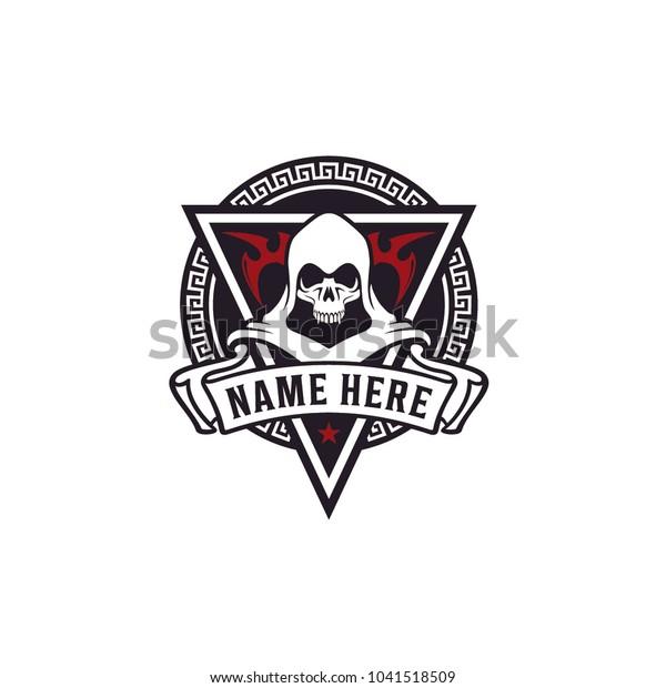 Killer Skull Badge Game Community Logo Stock Image