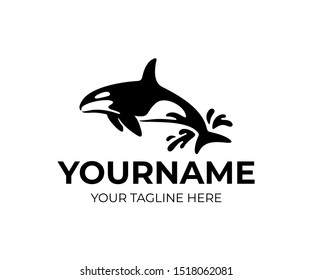 Killer whale jumping out of water with drops, logo design. Animal, fish, mammal and underwater life, vector design and illustration