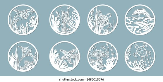 killer whale, scate, Dolphin, starfish, seahorse, turtle, crab, algae, corals, Kelp, (laminaria, Macrocystis, Brown alga, rockweed, Fucus, Posidonia). Vector illustration. Set of paper marine animals