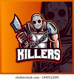 Killers Friday the 13th slasher Jason Voorhees with axes mascot esport logo design illustrations vector template, Hallowen logo for team game streamer banner