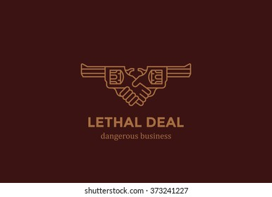 Killing Contract dangerous Deal Handshake with Guns Logo design vector template linear style. Danger Killer hands shaking Logotype concept icon.