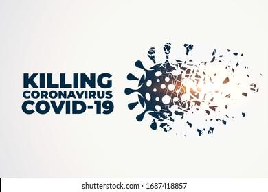 killing or destroying coronavirus covid-19 concept background
