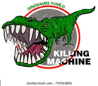 Killing mashine dinosaur t-shirt design, print, typography, clother, textile, card, Web. Vector illustration.