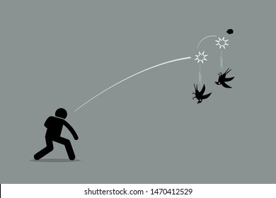 Killing two birds with one stone. Vector artwork depicts a man throwing a rock at two birds and killing both of them at once. Concept of efficiency, productivity, skillful, and good strategy.