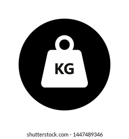 Kilogram weight graphic Icon. KG weight sign in the circle isolated on white background. Vector illustration