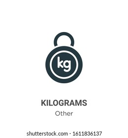 Kilograms glyph icon vector on white background. Flat vector kilograms icon symbol sign from modern other collection for mobile concept and web apps design.