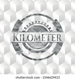 Kilometer grey emblem with cube white background