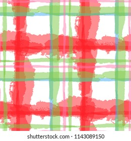 Kilt Texture. Seamless Grunge Background with Hand Painted Crossing Lines for Swimwear, Fabric, Textile. Rustic Check Texture. Vector Seamless Kilt Texture. Scottish  Ornament