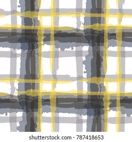 Kilt Texture. Seamless Grunge Pattern with Hand Painted Crossing Stripes for Swimwear, Upholstery, Textile. Rustic Check Texture. Vector Seamless Kilt Texture. Scottish  Ornament