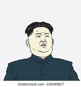 Kim Jong-un Caricature Portrait Vector Illustration. May 8, 2017