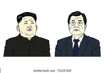 Kim Jong-un and Moon Jae-in Portrait Flat Design Vector Illustration, Editorial, September 10, 2017.