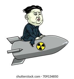 Kim Jong-un on Nuclear Rocket Weapon. Vector Cartoon Illustration. September 5, 2017