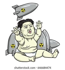 Kim Jong-un Playing Missiles. Cartoon Vector Illustration. May 25, 2017