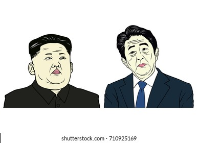 Kim Jong-un and Shinzo Abe Portrait, Flat Design Vector Illustration, September 7, 2017