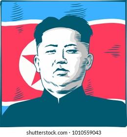 Kim Jong-un. Vector Portrait Drawing Illustration. January 26, 2018