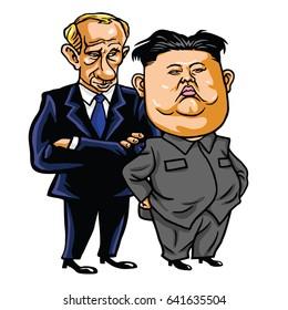 Kim Jong-un with Vladimir Putin. Cartoon Vector Illustration. May 17, 2017