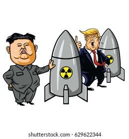 Kim Jong-un vs Donald Trump. Cartoon Vector Illustration. April 27, 2017