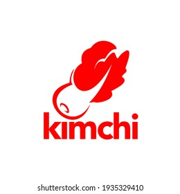 Kimchi Logo in Red Flat Color, Vector Fermented Food Vegetables Healthy Meal Graphic Design Template and Inspirations