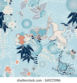 Kimono background with crane and flowers vector illustration