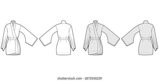 Kimono robe technical fashion illustration with long wide sleeves, belt to cinch the waist, above-the-knee length. Flat blouse template front, back white grey color. Women men unisex CAD shirt mockup