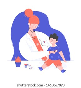 Kind doctor woman, smiling boy at the reception at the pediatrician, healthcare concept, pediatrician office, conducts a medical examination of the child, Phonendoscope character flat people vector