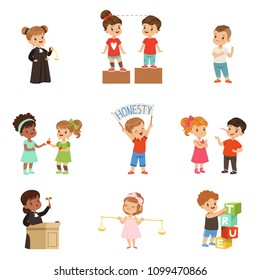 Kind and fair little children set, kids protecting friends, sharing with each other, carrying out justice vector Illustrations isolated on a white background.