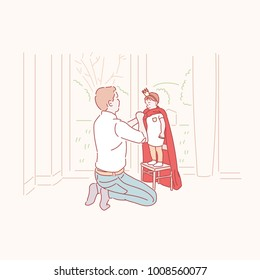 A kind father playing superhero with a son. hand drawn style vector doodle design illustrations.