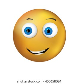 Kind gentle yellow smiley with blue eyes