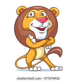 Kind lion is standing and smiling . VECTOR ILLUSTRATION