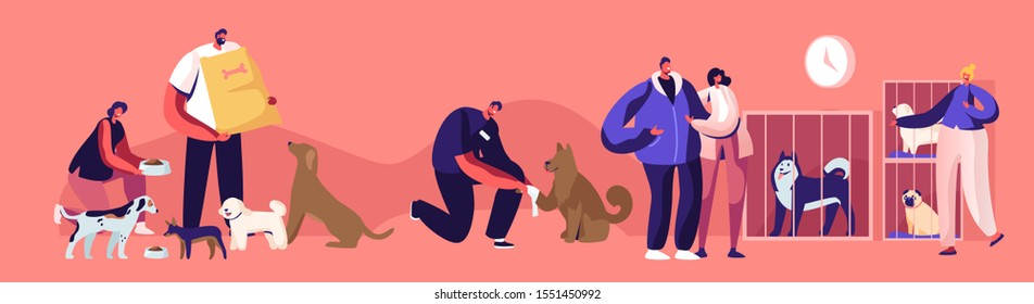 Kind People Help Homeless Animals. Men and Women Adopting Pet from Shelter, Healing and Feeding Dogs. Pound, Rehabilitation or Adoption Center for Stray Pets Concept. Cartoon Flat Vector Illustration