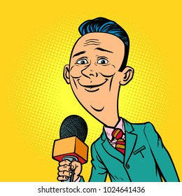 kind smiling reporter correspondent journalist male. television and radio, Internet broadcasting. Comic book cartoon pop art retro vector illustration drawing